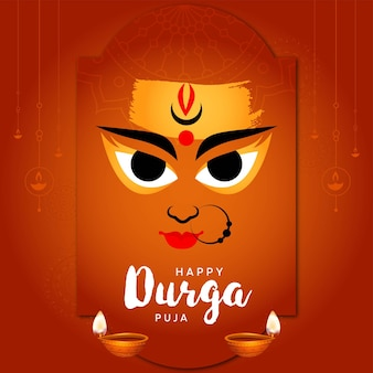 Festival indiano felice disegno del banner di durga puja