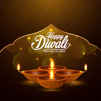 Festa indiana del biglietto di auguri per la celebrazione del diwali felice leggero