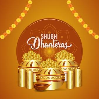 Festival indiano shubh dhanteras sfondo con moneta d'oro pot