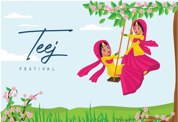 Modello di progettazione banner teej festival indiano