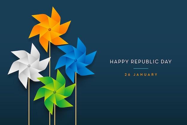 Bandiera indiana concetto festa della repubblica trio girandola di colore