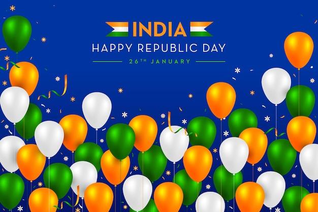 Bandiera indiana concetto festa della repubblica trio colori palloncini