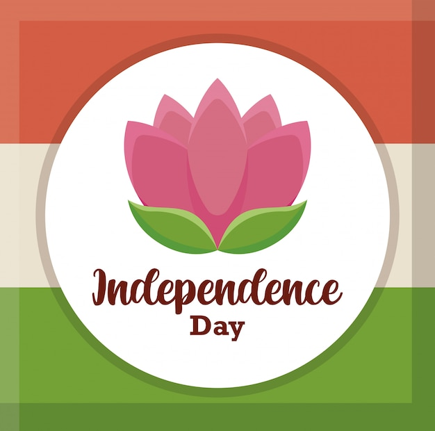 Bandiera indiana con il giorno dell'indipendenza del fiore di loto