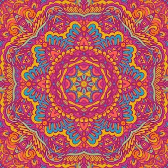 Motivo floreale indiano con medaglione paisley con mandala motivo senza cuciture festival colorato