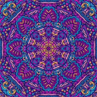 Motivo a medaglione paisley floreale indiano con mandala in stile doodle disegnato a mano