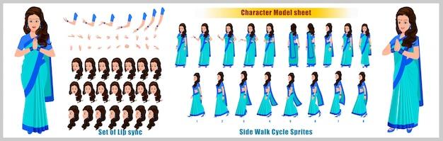 Foglio di modello di disegno di carattere di ragazza indiana con animazione ciclo a piedi design del personaggio della ragazza. anteriore, laterale, vista posteriore e pose di animazione esplicativa. set di caratteri con varie viste e sincronizzazione labiale