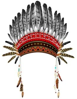 Cappello indiano con piume. costume di tradizione etnica.