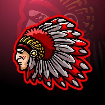 Design del logo esport della mascotte della testa indiana