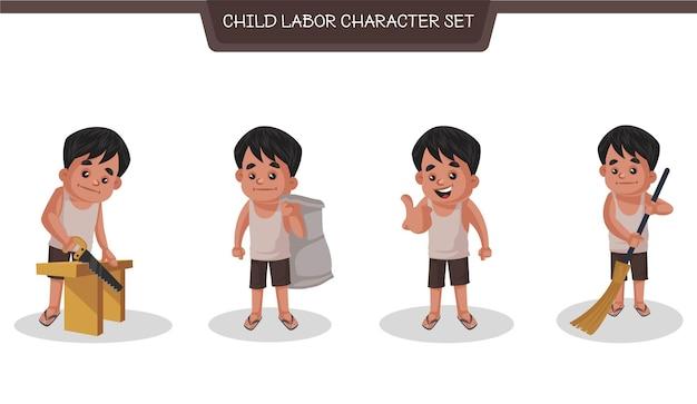 Set di caratteri illustrazione indiana del bambino che fa illustrazione del lavoro in stile cartone animato