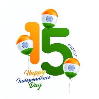 Celebrazioni del giorno dell'indipendenza indiana con testo elegante 15 agosto testo e palloncini tricolore.