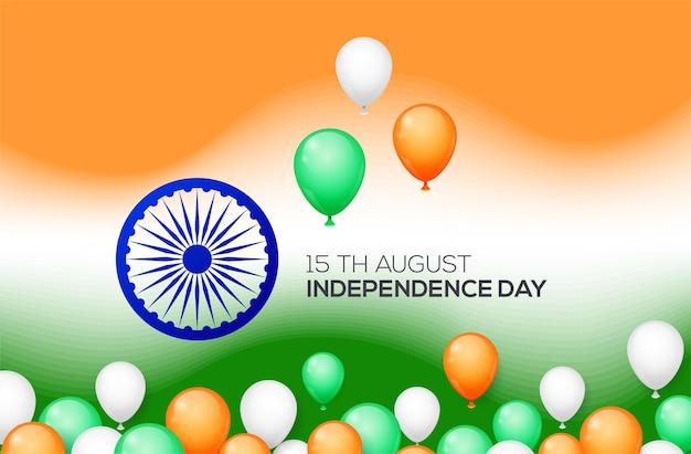 Concetto di festa dell'indipendenza indiana con palloncini. Vettore Premium