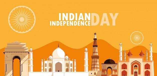 Manifesto di festa dell'indipendenza indiana con un gruppo di edifici