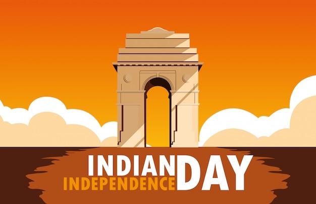 Manifesto indiano di festa dell'indipendenza con il cancello dell'india
