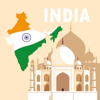 Manifesto di festa dell'indipendenza indiana con bandiera mappa e taj majal