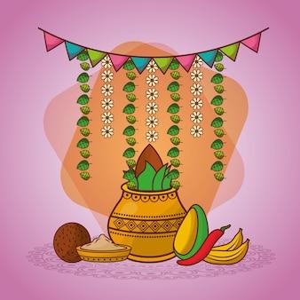 Decorazione indiana della ghirlanda del peperoncino della noce di cocco del kalash