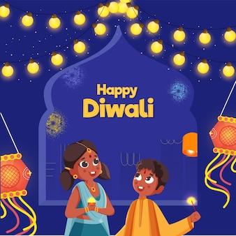 Bambini indiani che celebrano il festival di diwali con un bastoncino cosparso, lanterne del cielo, kandil hang e ghirlanda di illuminazione su sfondo blu.