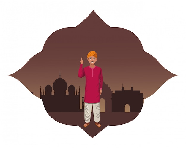 Personaggio dei cartoni animati avatar uomo indiano