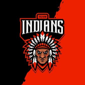 Gioco esport di logo mascotte indiano
