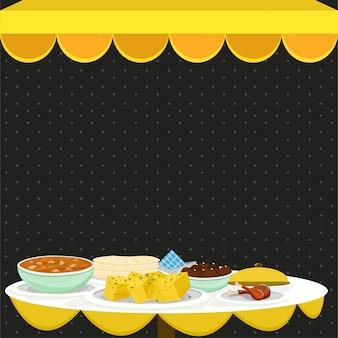 Concetto di pasto indiano, cibo e bevande.