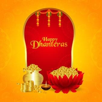Cartolina d'auguri di celebrazione di festa religiosa indiana felice dhanteras con illustrazione vettoriale di moneta d'oro