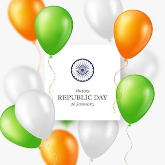 Priorità bassa di festa di giorno della repubblica indiana. manifesto o striscione di celebrazione, carta. palloncini a tre colori. illustrazione vettoriale.