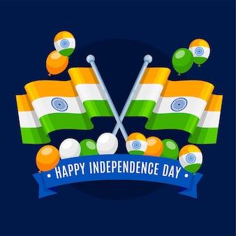 Bandiera tricolore della festa della repubblica indiana e palloncini in design piatto