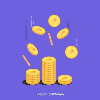 Priorità bassa di caduta delle monete della rupia indiana Vettore Premium