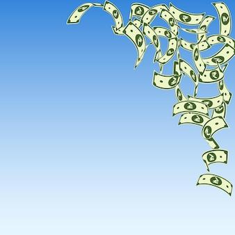 Caduta delle banconote della rupia indiana. fatture inr galleggianti su sfondo blu cielo. soldi dell'india. illustrazione vettoriale classico. sorprendente jackpot, ricchezza o concetto di successo.