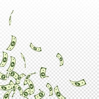 Caduta delle banconote della rupia indiana. fatture inr galleggianti su sfondo trasparente. soldi dell'india. affascinante illustrazione vettoriale. jackpot audace, ricchezza o concetto di successo.