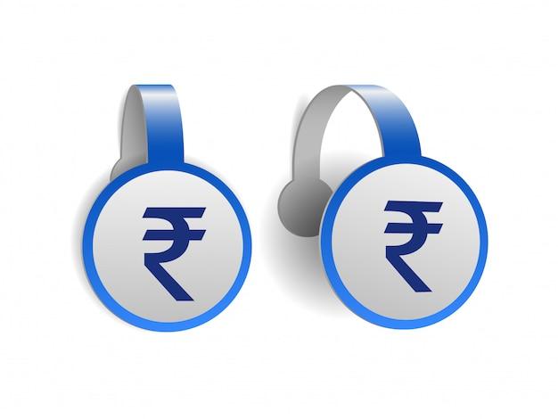 Simbolo della rupia indiana sui wobblers pubblicitari blu. del segno di valuta dell'india sull'etichetta. simbolo dell'unità monetaria. illustrazione su sfondo bianco
