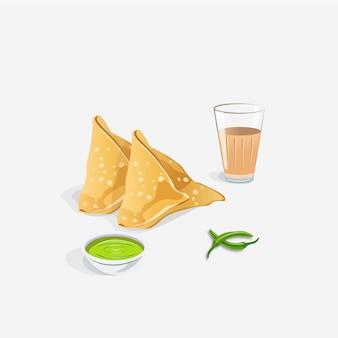 Spuntino e chai indiani di samosa con chutney verde isolato su bianco