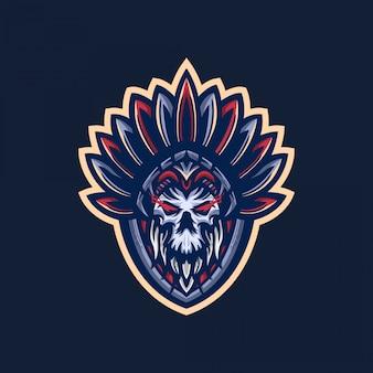 Logo mascotte teschio indiano
