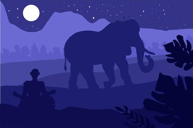 Paesaggio tropicale indiano con elefante e monaco. paesaggio forestale. vettore