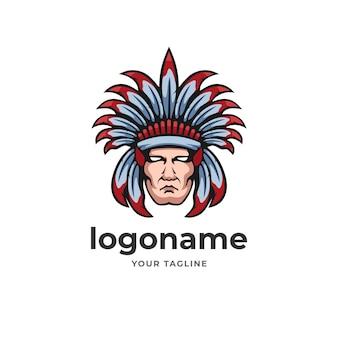 Capo guerriero indiano apache logo emblema stile per azienda di tecnologia di gioco e sport