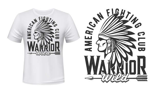 Guerriero indiano, stampa t-shirt da combattimento