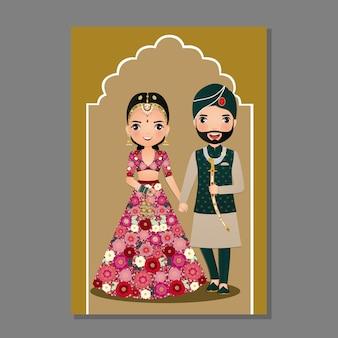 Carta di invito matrimonio indiano Vettore Premium