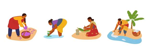 Donne indiane che lavorano. raccogliendo zafferano, lavorando nel campo di riso, ordinando le erbe, facendo il bucato a mano.