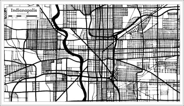 Mappa della città di indianapolis usa in stile retrò in colore bianco e nero. mappa di contorno. illustrazione di vettore.