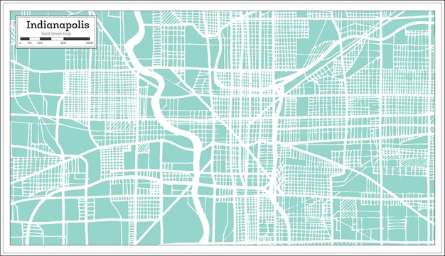 Mappa della città di indianapolis usa in stile retrò. mappa di contorno. illustrazione di vettore.
