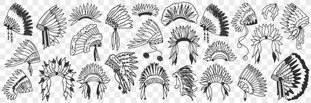 Insieme di doodle di copricapo di piume indiani