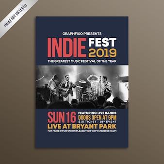 Modello del manifesto del festival di musica rock indie