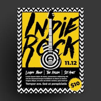 Modello di progettazione di poster di volantini indie rock party o concerti per il tuo evento di musica dal vivo di night club o pub.