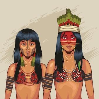Ragazze indigene con stoffa tradizionale