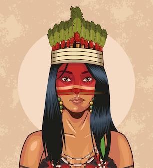 Donna indigena con corona tradizionale