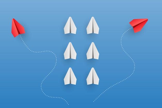 Concetto di individualità. illustrazione di aeroplano di carta rossa leader individuale e unica