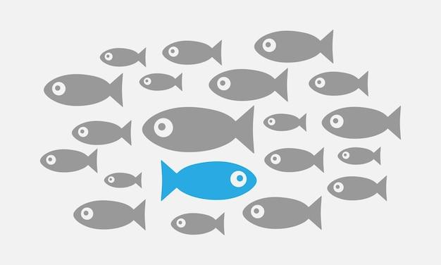Concetto di individualità. non come tutti gli altri. il pesce nuota contro corrente vector eps 10