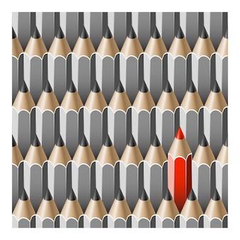 Matite di concetto di individualità. modello senza soluzione di continuità con le matite.