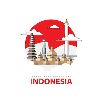 Fondo del giorno dell'indipendenza indonesiana con l'illustrazione dell'edificio iconico in indonesia