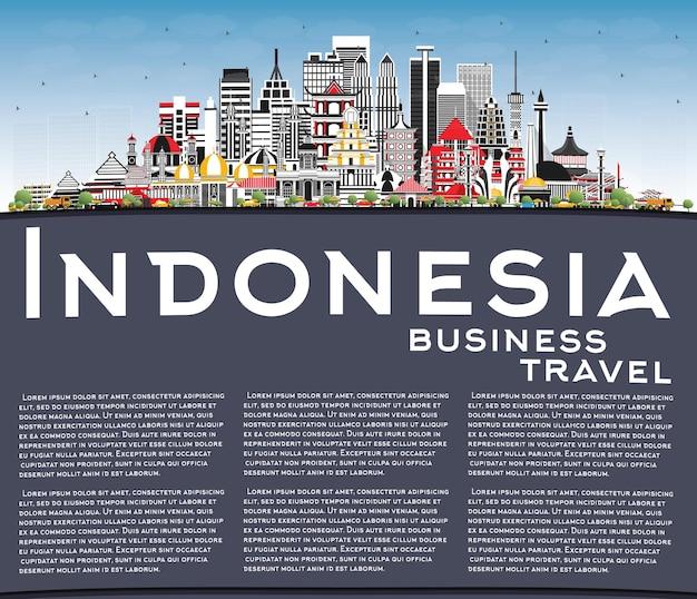 Orizzonte delle città dell'indonesia con cielo blu di edifici grigi e illustrazione dello spazio della copia concetto di turismo con architettura storica paesaggio urbano dell'indonesia con punti di riferimento jakarta surabaya bekasi
