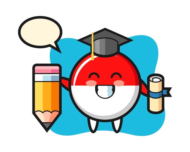 Il fumetto dell'illustrazione del distintivo della bandiera dell'indonesia è laurea con una matita gigante